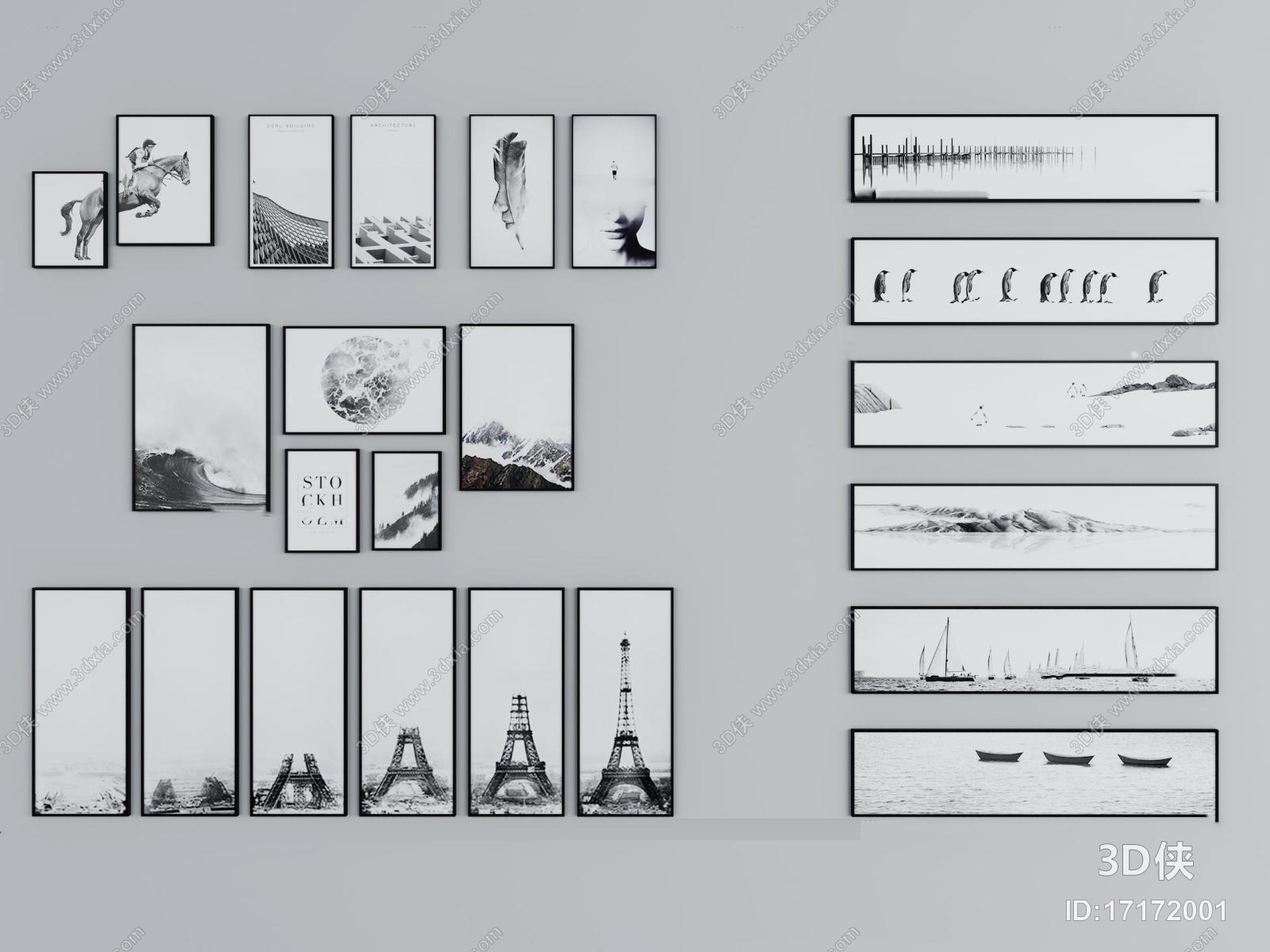 挂画效果图素材免费下载,本作品主题是现代黑白装饰画组合3d模型,编号