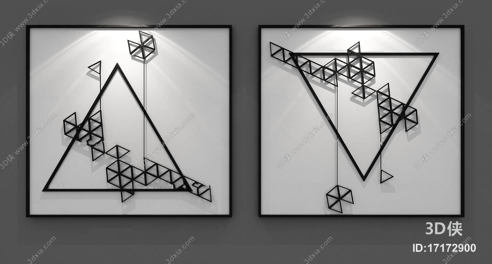 挂画效果图素材免费下载,本作品主题是现代立体抽象画组合3d模型,编号