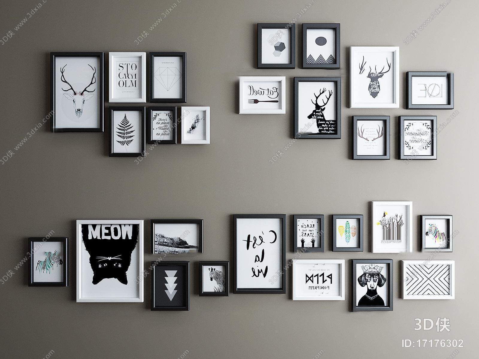 北欧黑白装饰挂画相框组合3D模型