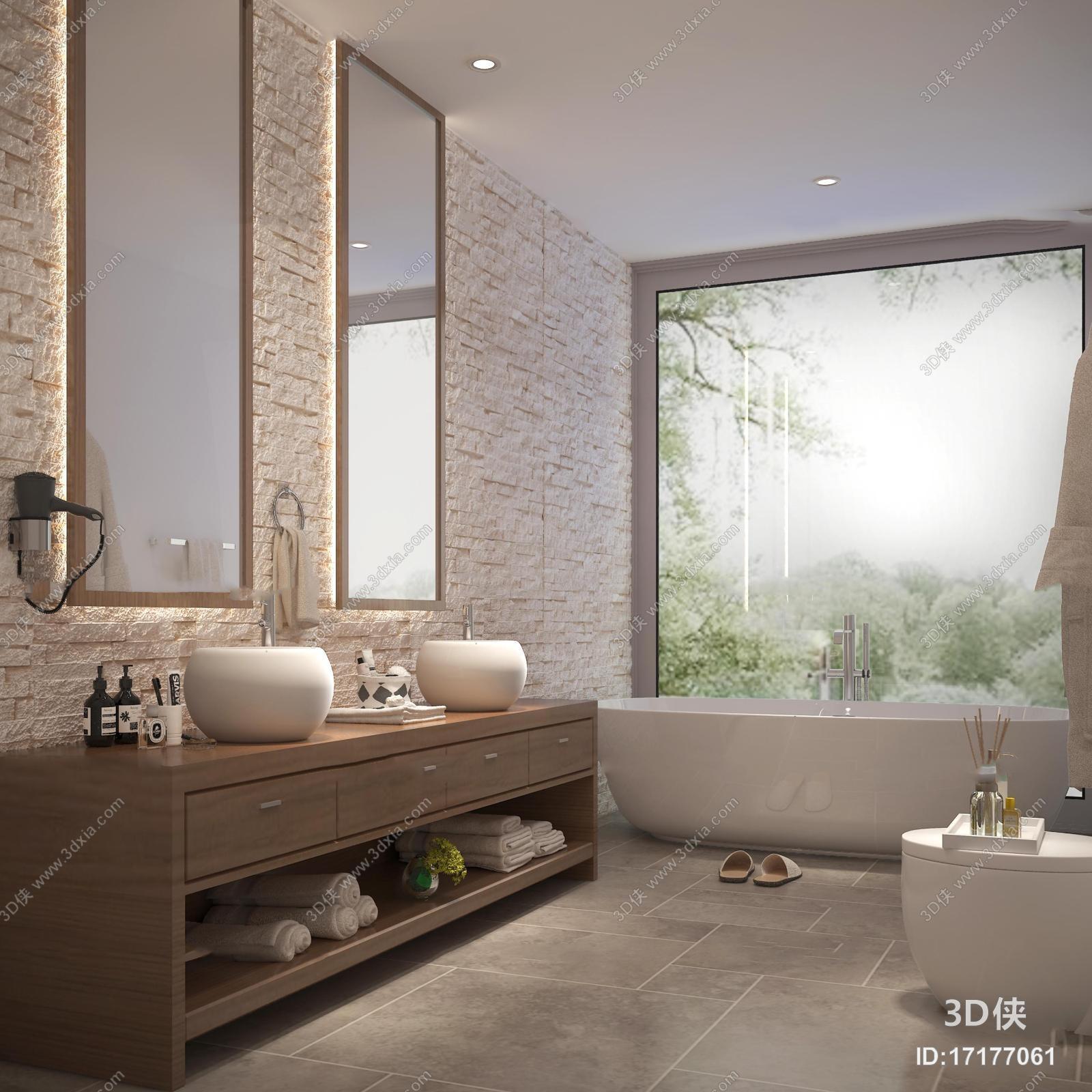厨卫效果图素材免费下载,本作品主题是现代浴室卫生间3d模型,编号是