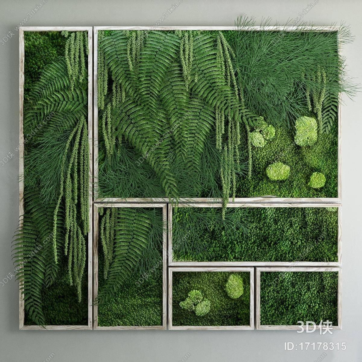 效果图素材免费下载,本作品主题是现代绿植装饰墙3d模型,编号是