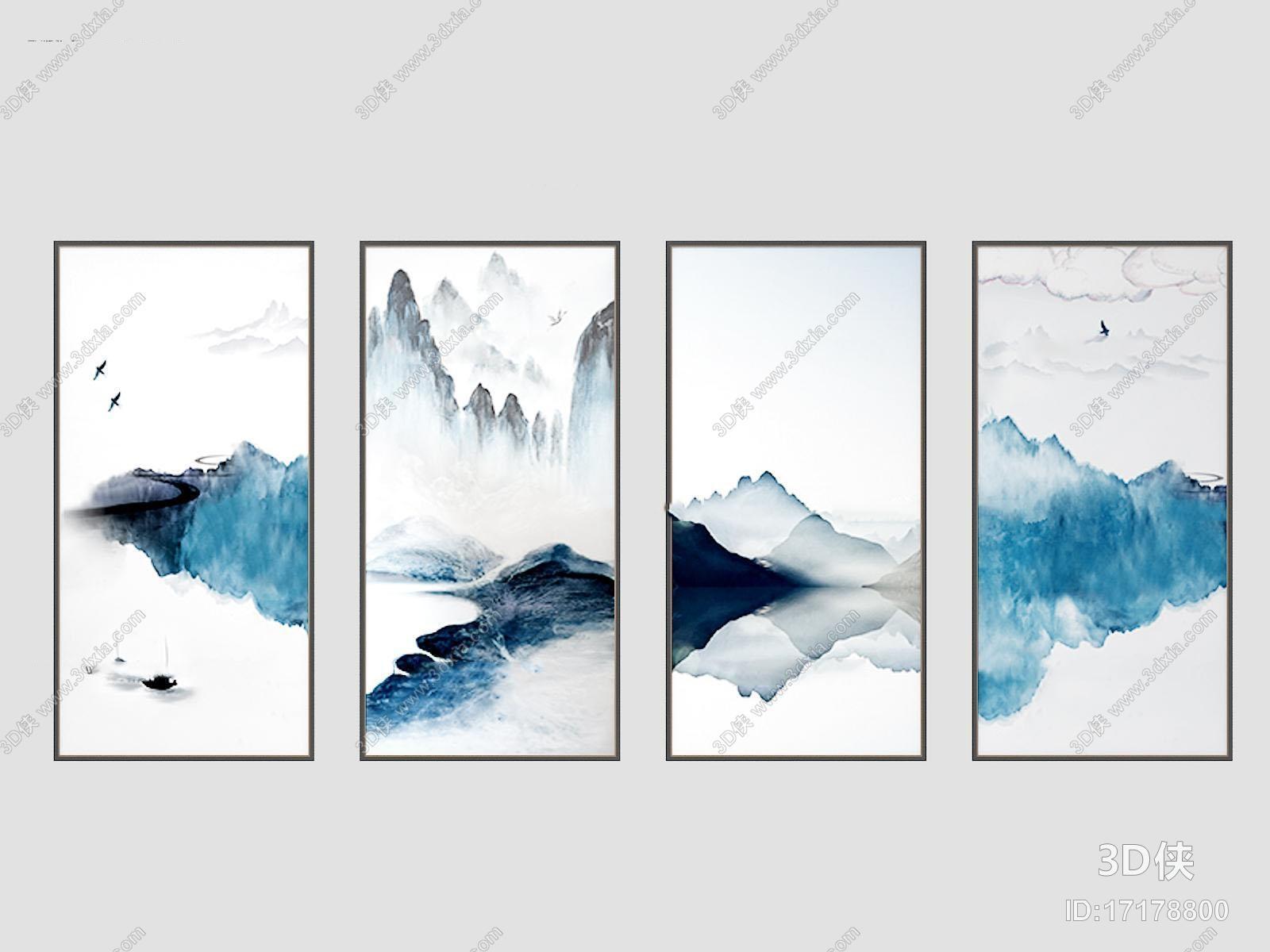 挂画效果图素材免费下载,本作品主题是现代山水装饰画组合3d模型,编号