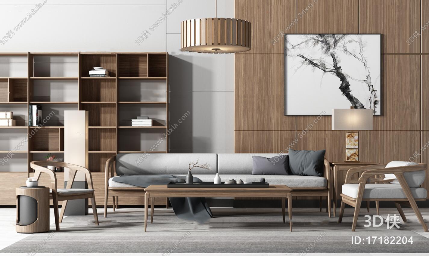 北欧实木沙发休闲椅茶几装饰柜组合3D模型