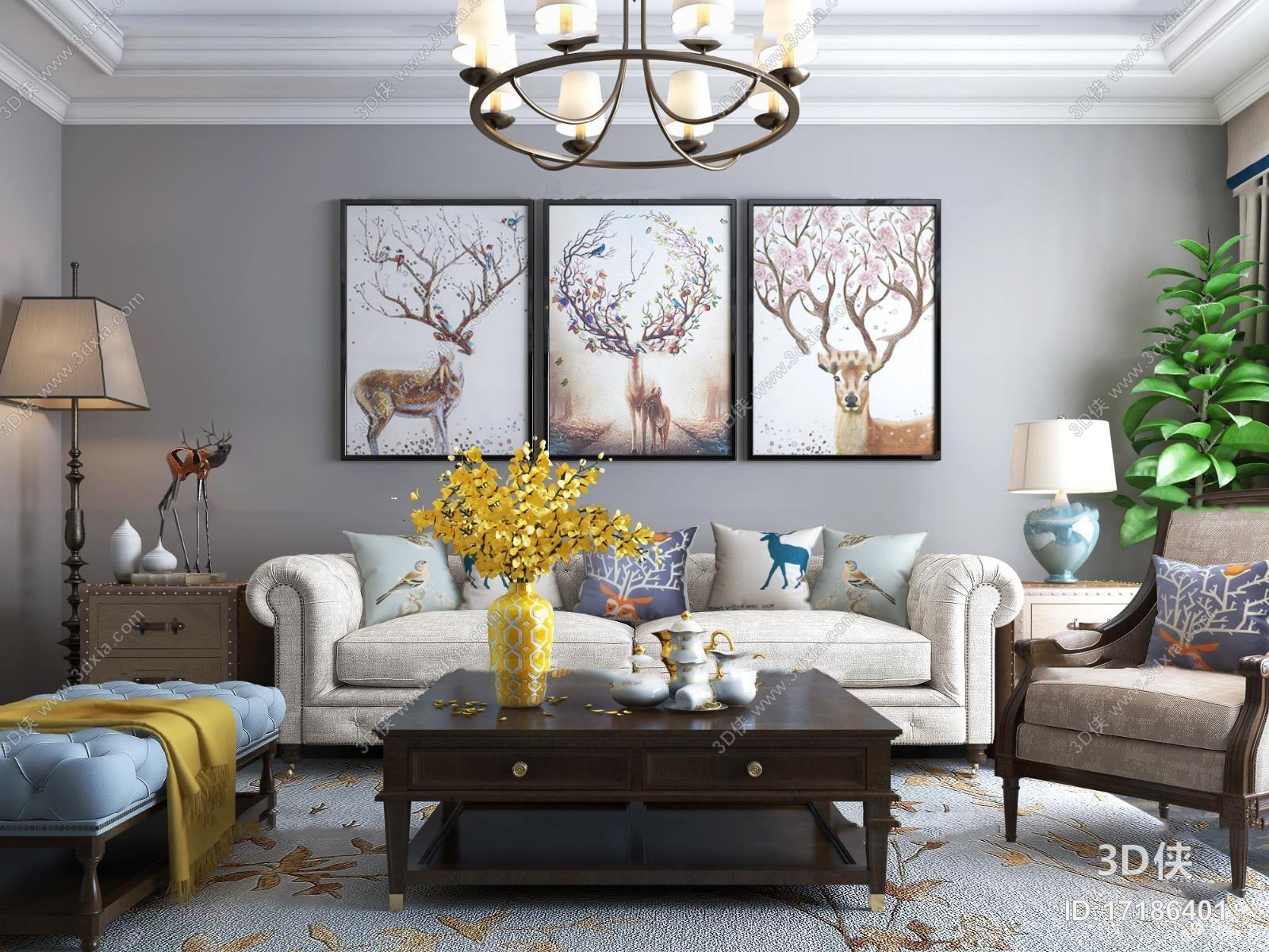 美式沙发茶几吊灯组合3D模型