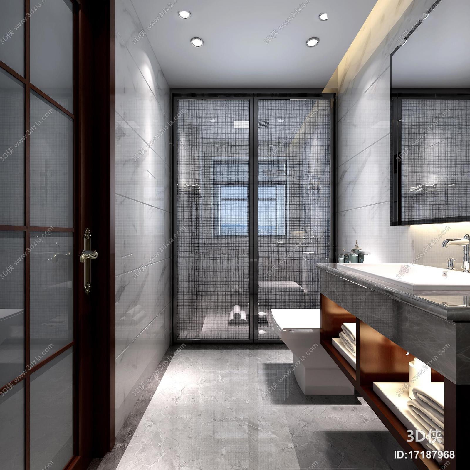厨卫效果图素材免费下载,本作品主题是新中式淋浴间卫生间3d模型,编号