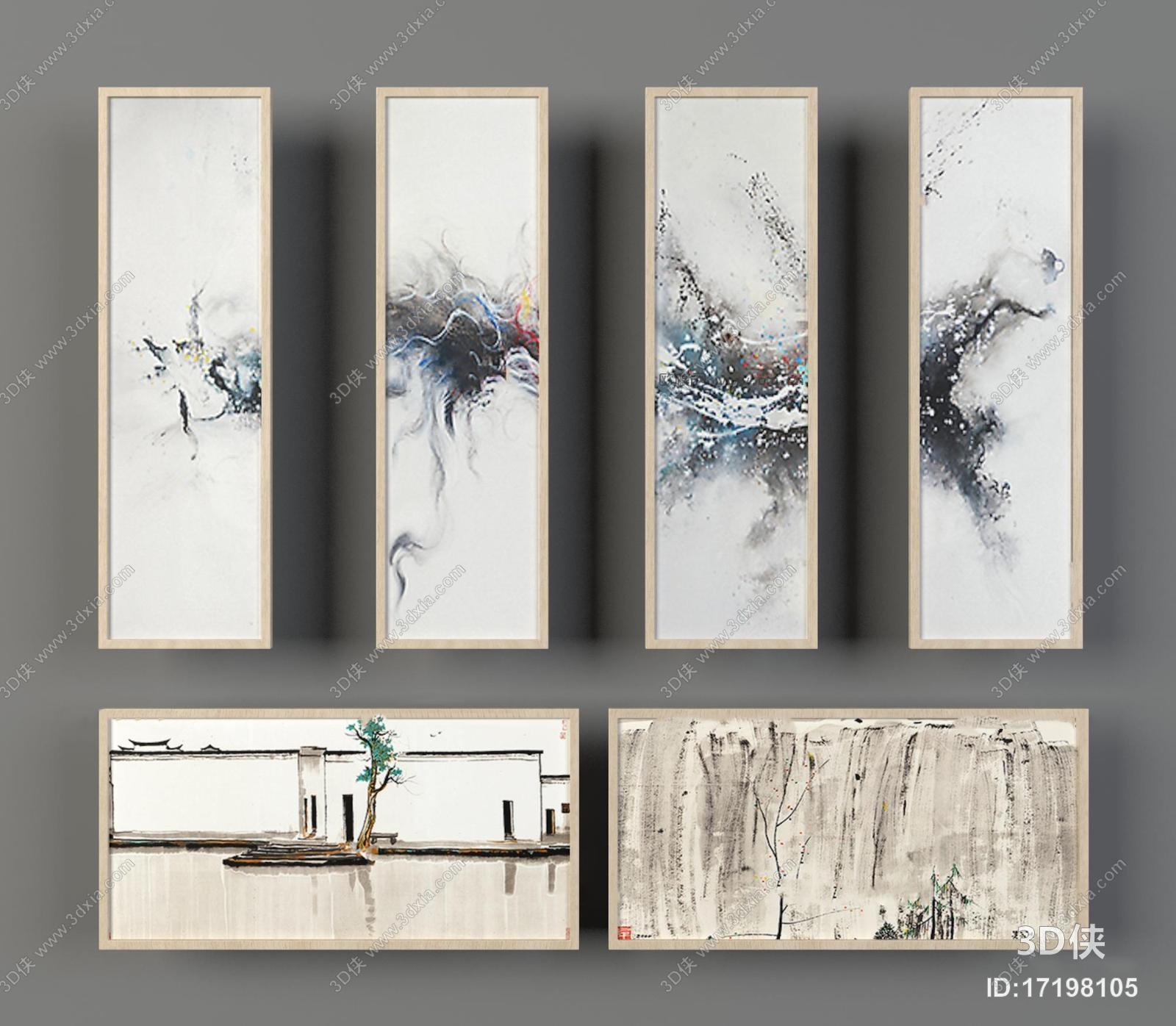 挂画效果图素材免费下载,本作品主题是新中式装饰画组合3d模型,编号是