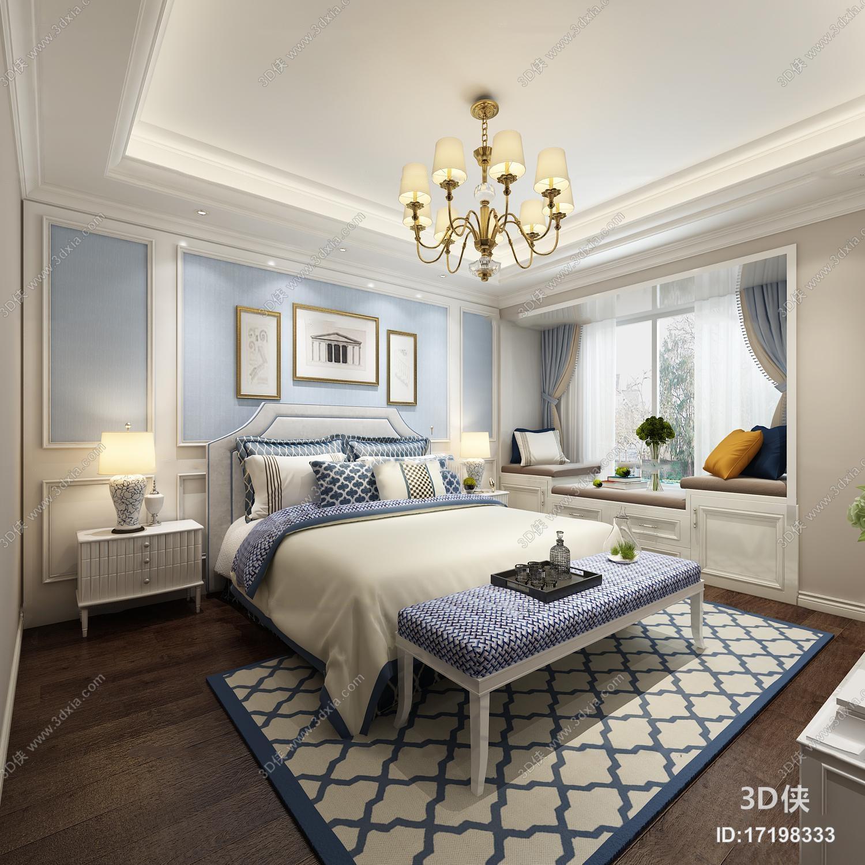 精美好看的美式风格 效果图素材免费下载,本作品主题是简美卧室3d模型