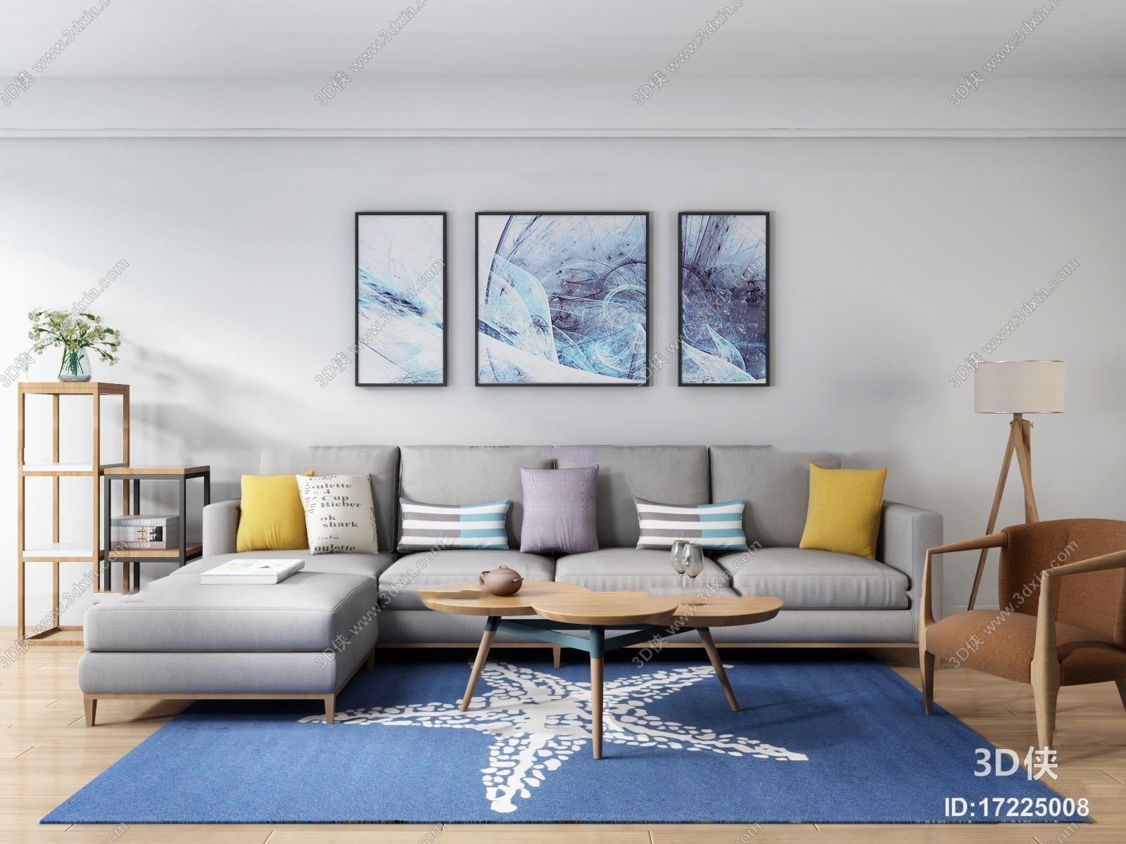北欧布艺转角多人沙发休闲椅茶几组合3D模型