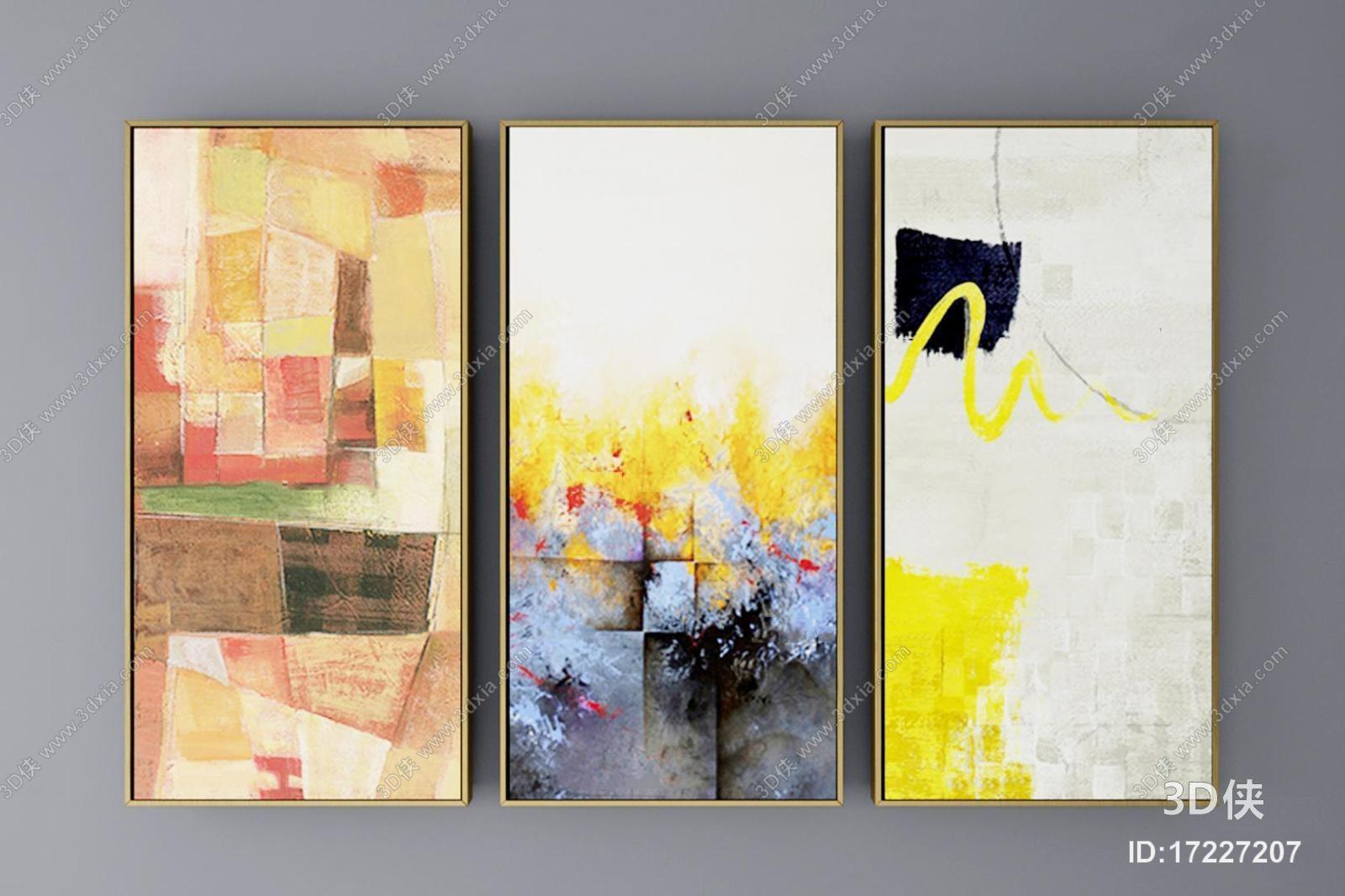 挂画效果图素材免费下载,本作品主题是现代挂画装饰画组合3d模型,编号