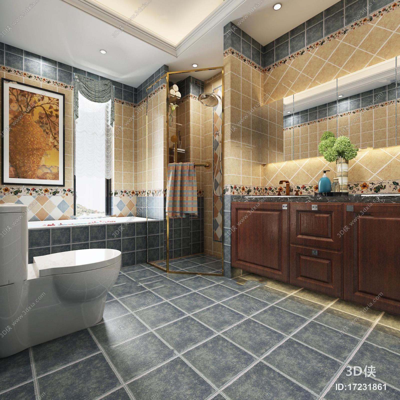 厨卫效果图素材免费下载,本作品主题是美式浴室卫生间3d模型,编号是17