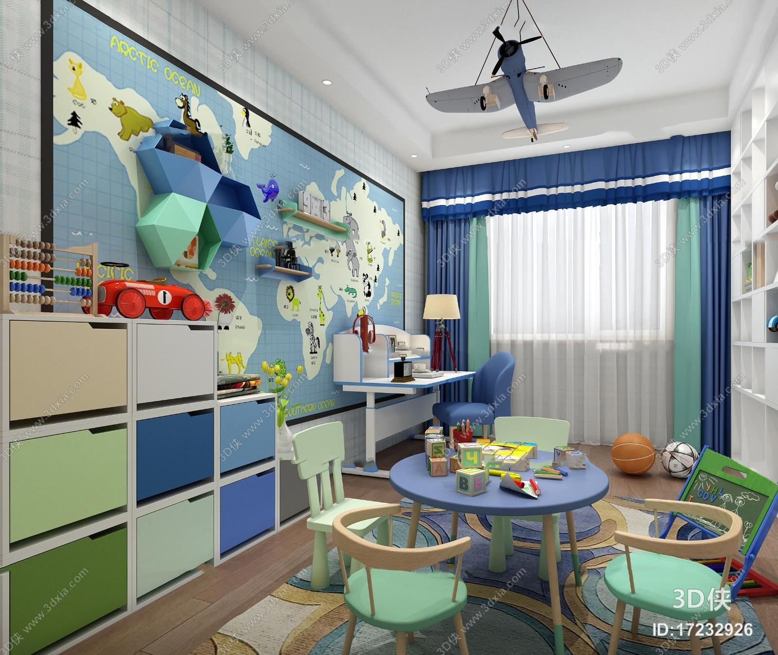 效果圖素材免費下載,本作品主題是現代兒童活動室3d模型,編號是
