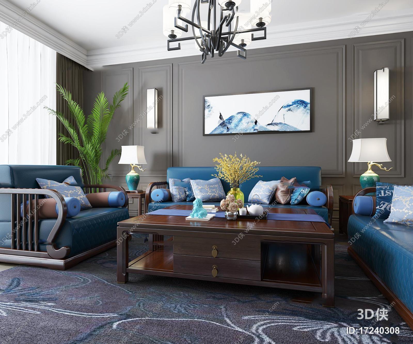 新中式沙发茶几台灯组合3D模型
