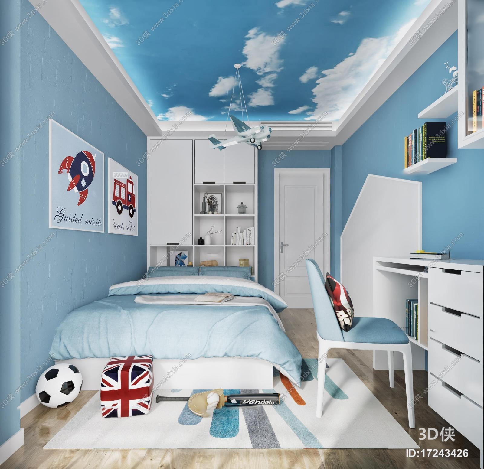 现代儿童卧室男孩房3d模型【id:17243426】