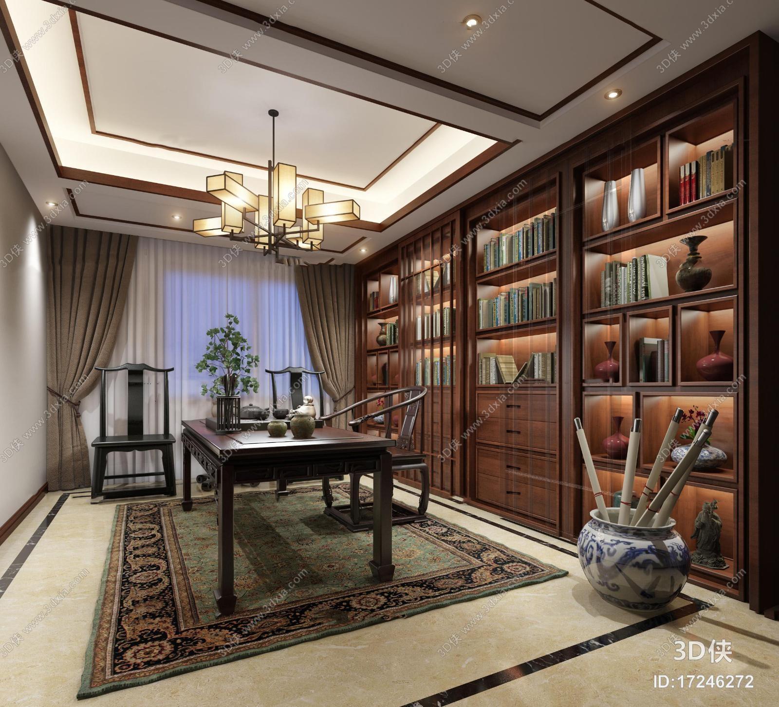 新中式书房茶艺3D模型