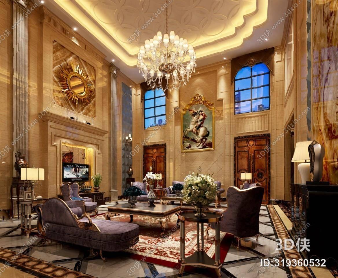 欧式客厅3d模型 吊灯 沙发组合 边柜 台灯