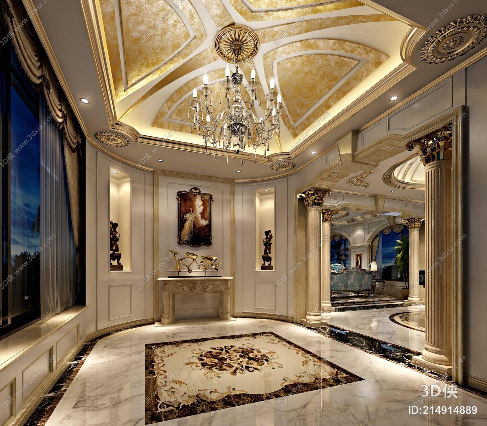 法式别墅玄关 经典欧式银艺吊灯 米色大理石壁炉 铜艺装饰欧式油画图片
