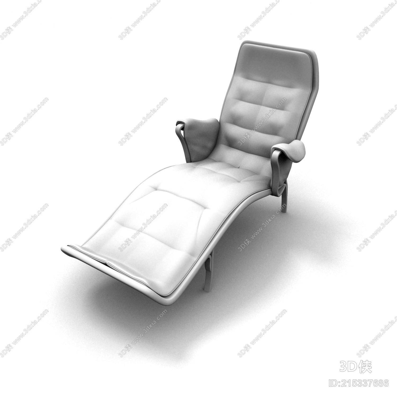 效果图素材免费下载,本作品主题是现代白模皮质躺椅,编号是215337686