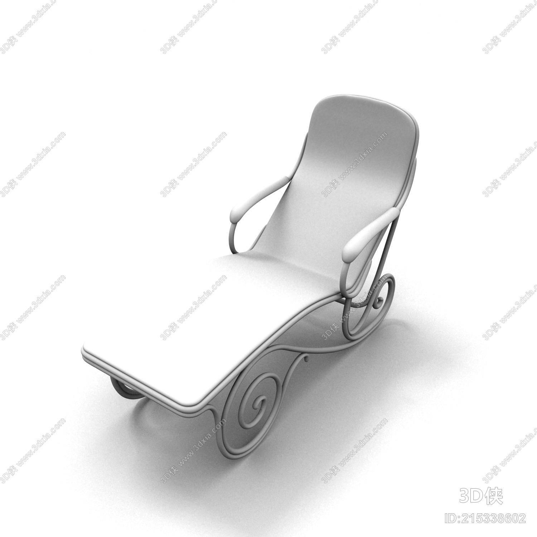 效果图素材免费下载,本作品主题是现代白模皮质躺椅,编号是215338602