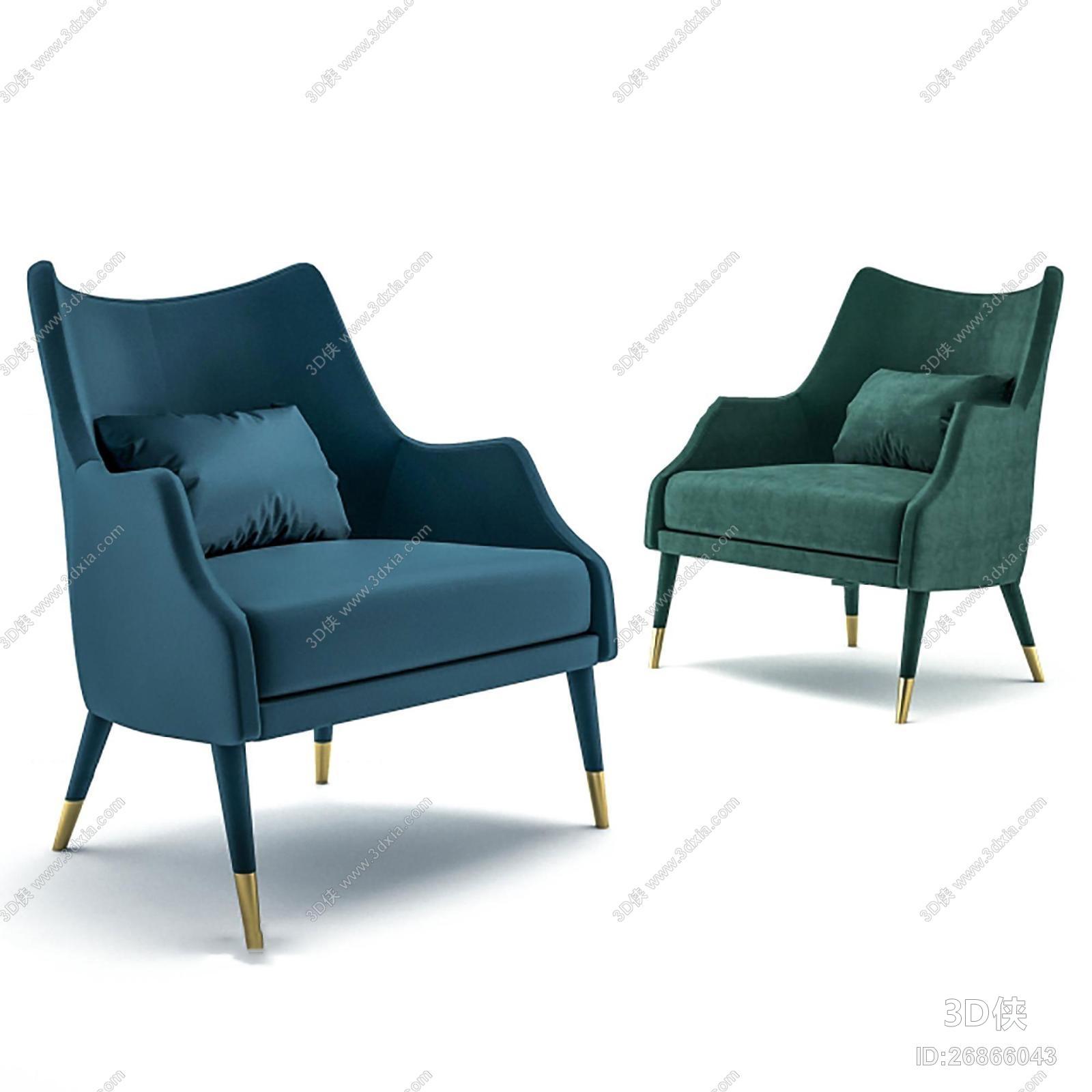 单椅效果图素材免费下载,本作品主题是现代布艺单人沙发椅组合3d模型