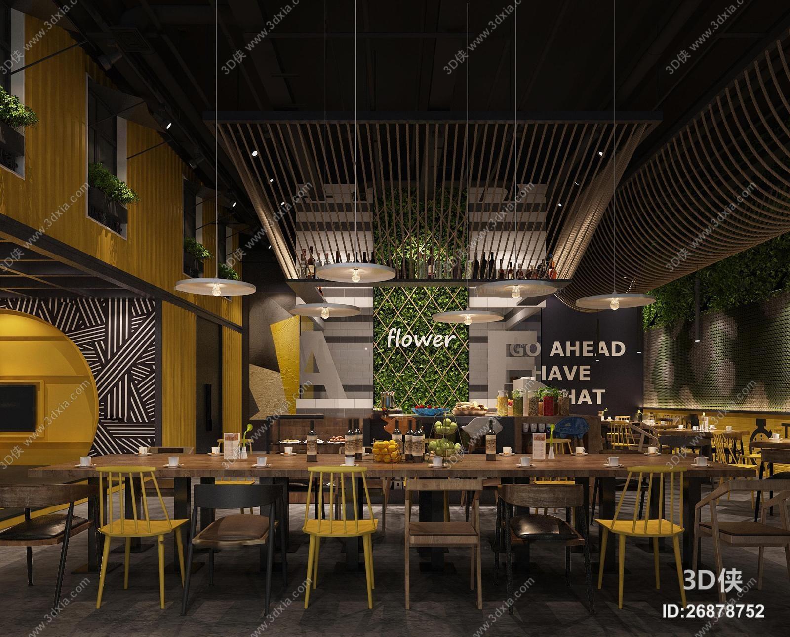 效果图素材免费下载,本作品主题是现代工业风集装箱咖啡厅餐厅3d模型