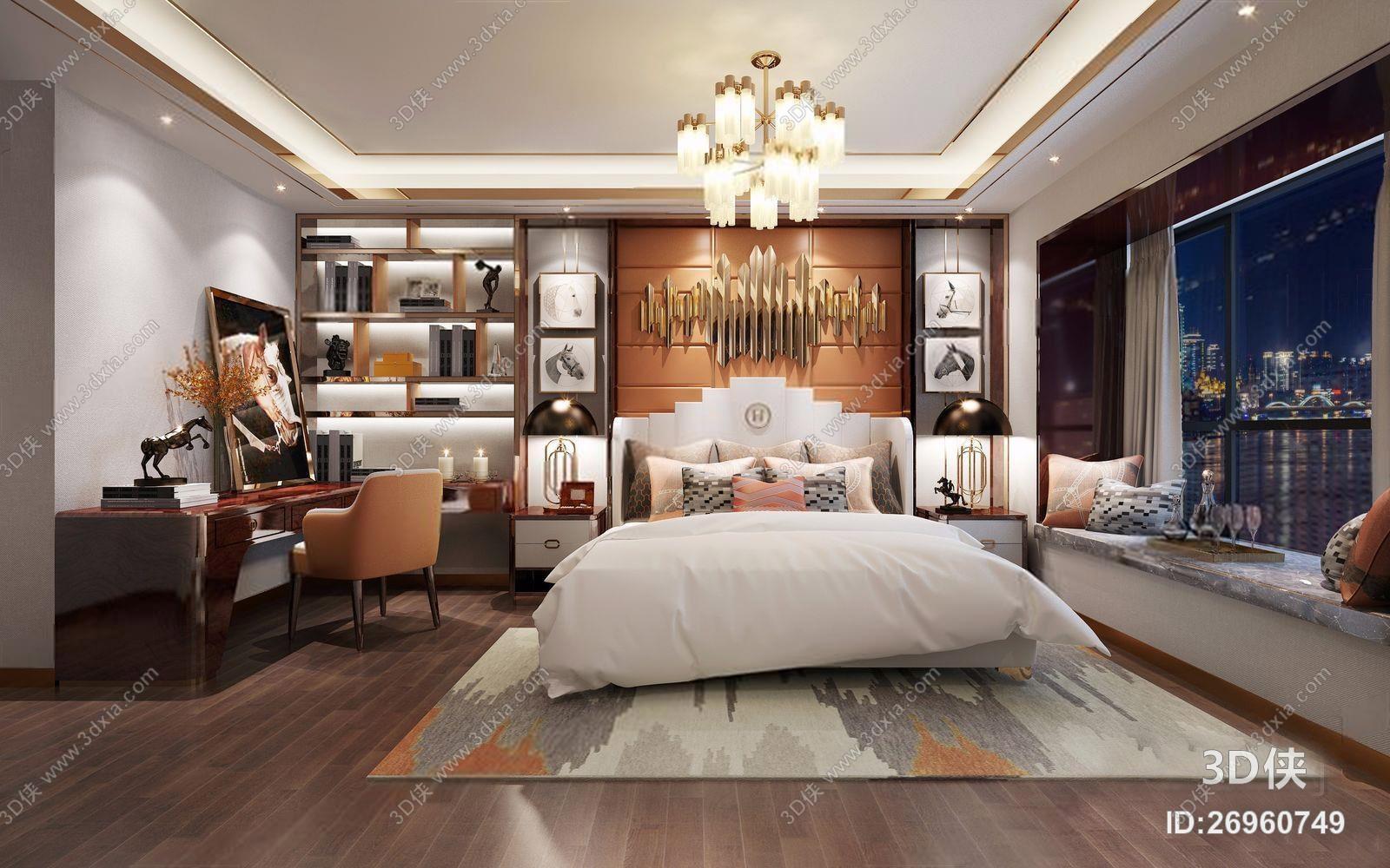 后现代样板房主卧 后现代卧室 床具 吊灯 飘窗 梳妆台 椅子 床头柜 墙饰 床品 抱枕
