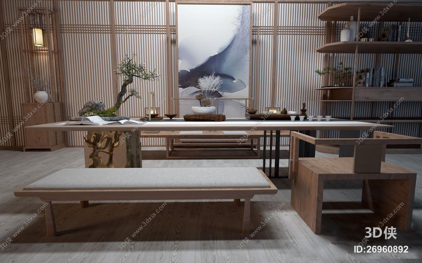 办公椅效果图素材免费下载,本作品主题是禅意茶桌椅 新中式茶台 椅子