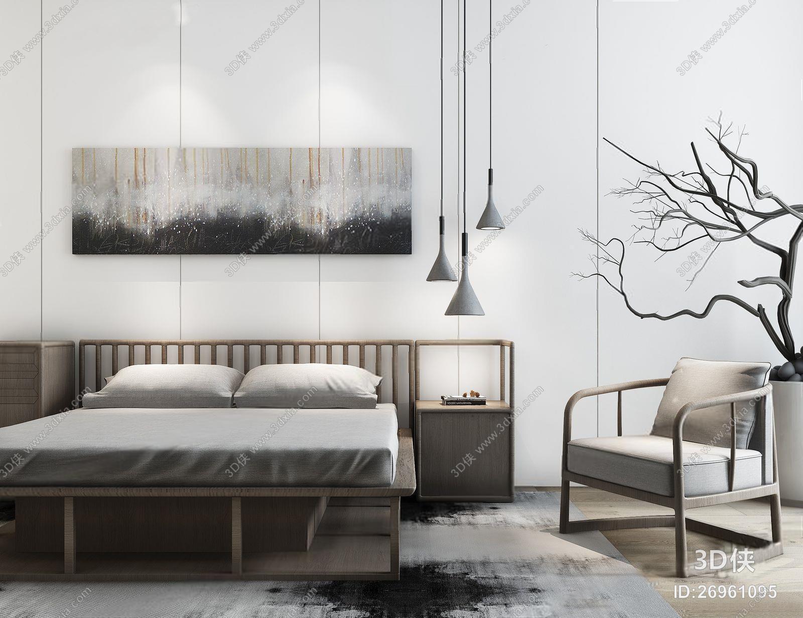 新中式床具 新中式床具 挂画 吊灯 单人沙发 干支 地毯 床头柜