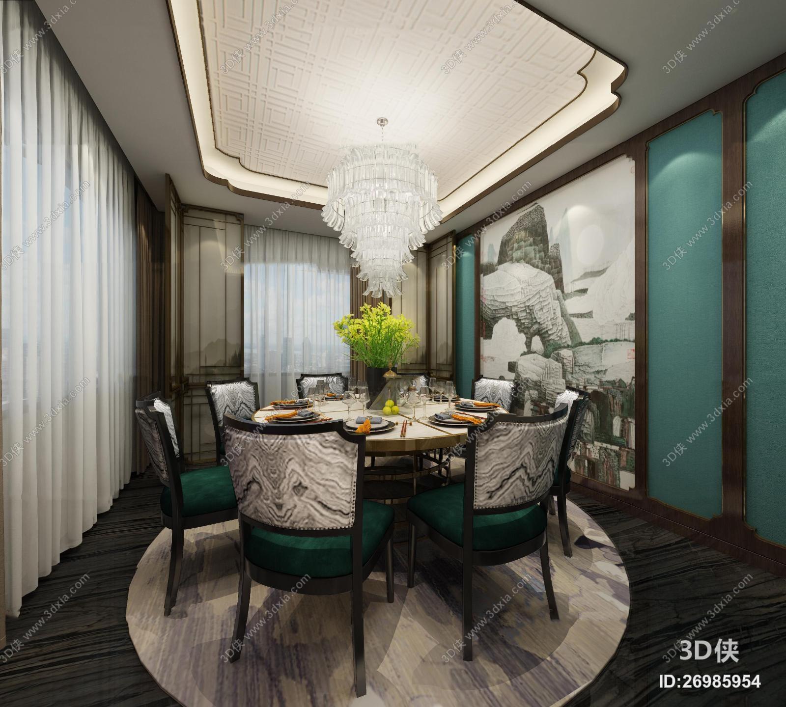 效果圖素材免費下載,本作品主題是新中式餐廳包間3d模型,編號是