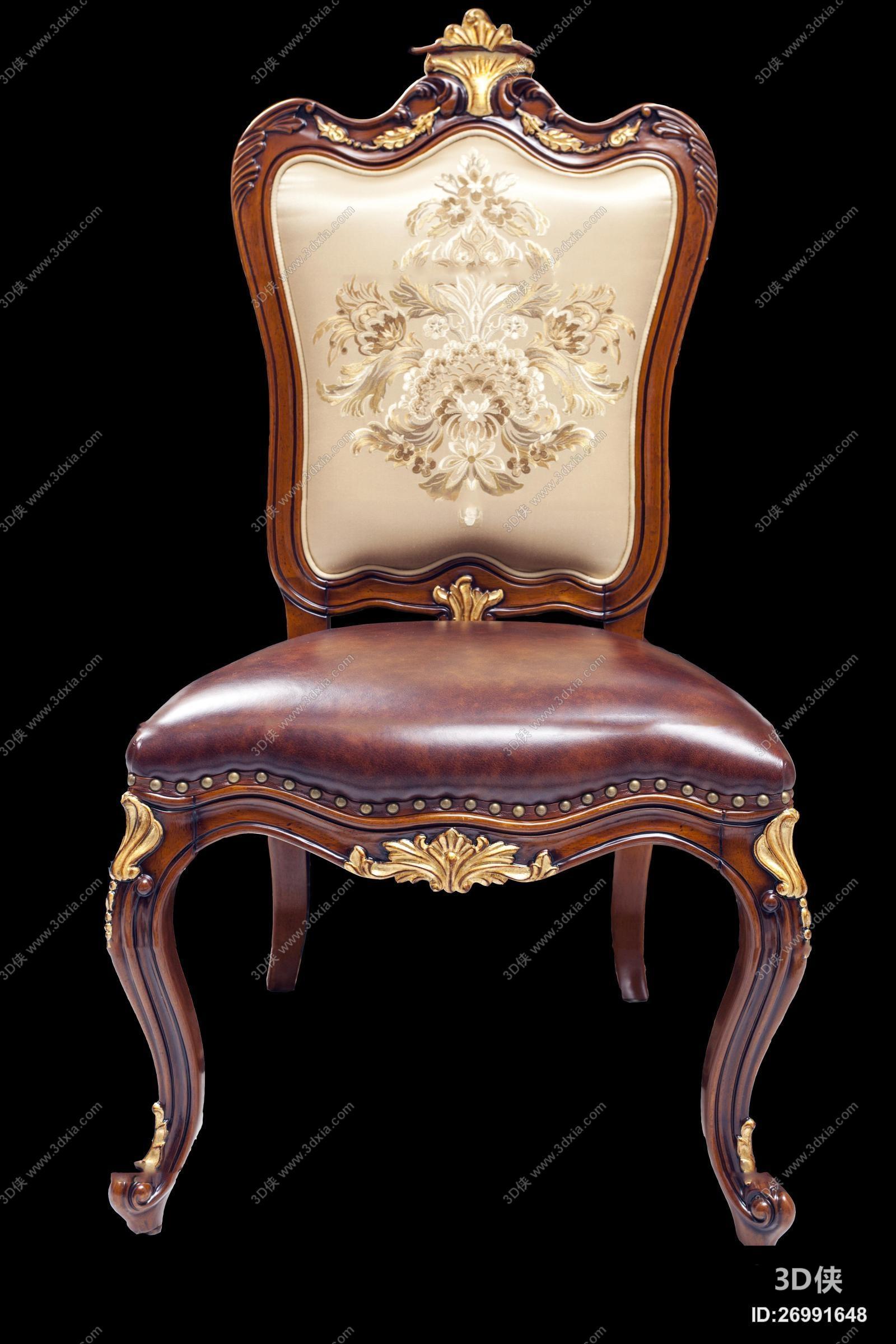 家具 椅子凳子 休闲椅 单椅 欧式雕花皮革餐椅3d模型【id:26991648】