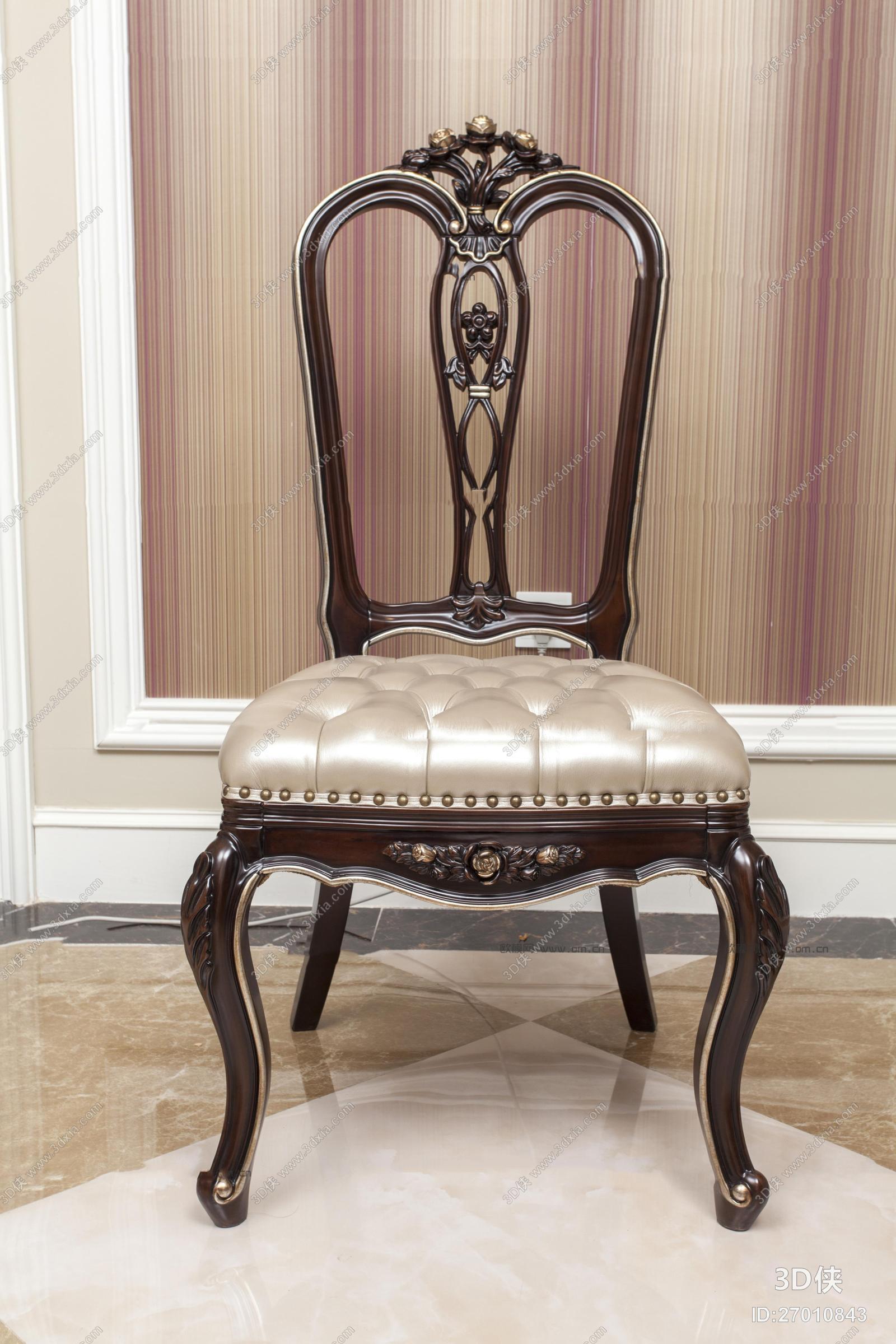 家具 椅子凳子 休闲椅 单椅 欧式雕花皮革单椅3d模型【id:27010843】