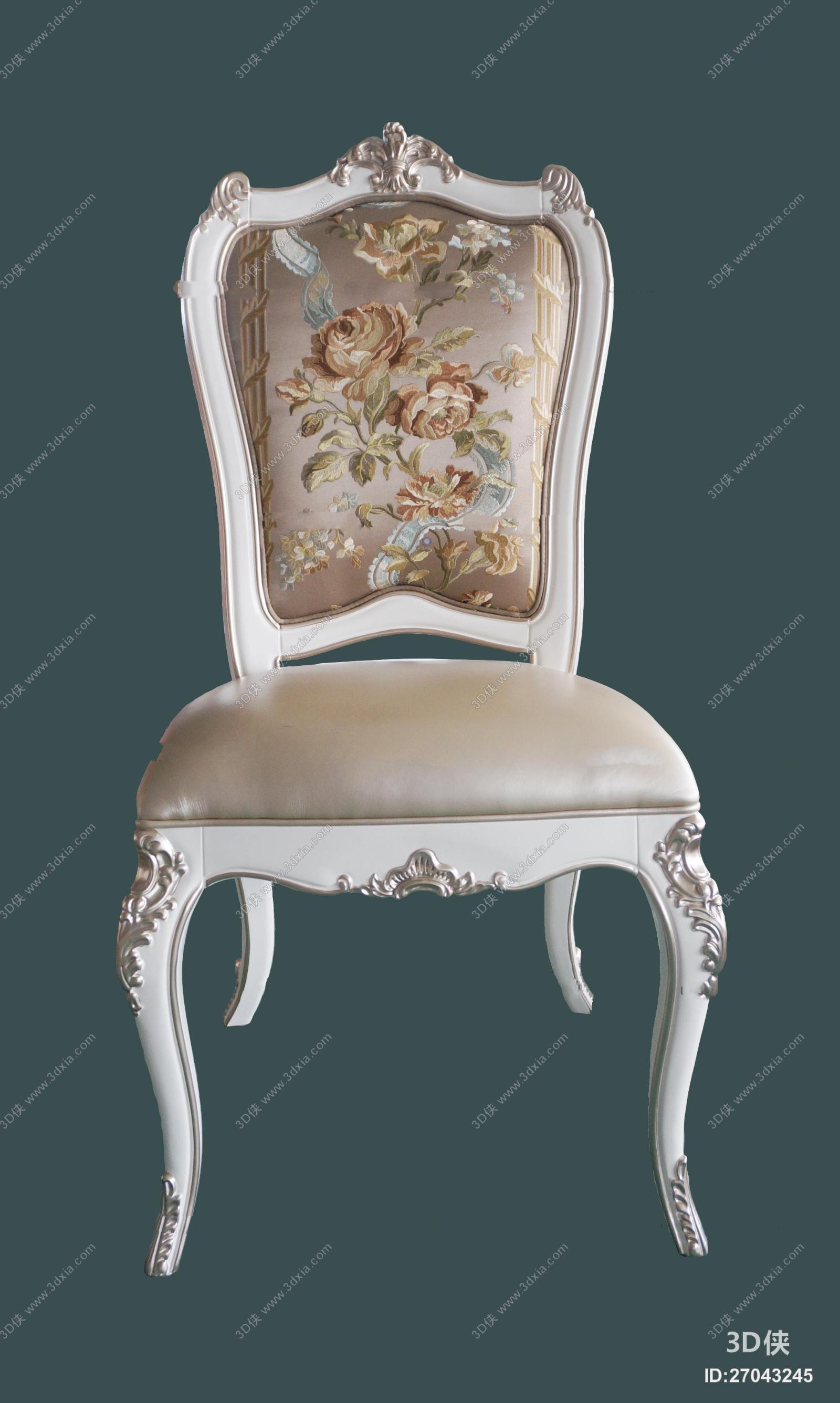 欧式实木雕花单椅3d模型【id:27043245】