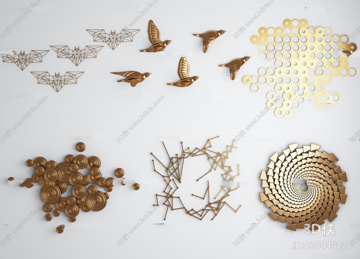 新中式飞鸟金属圆形状背景墙饰挂件组合3D模型