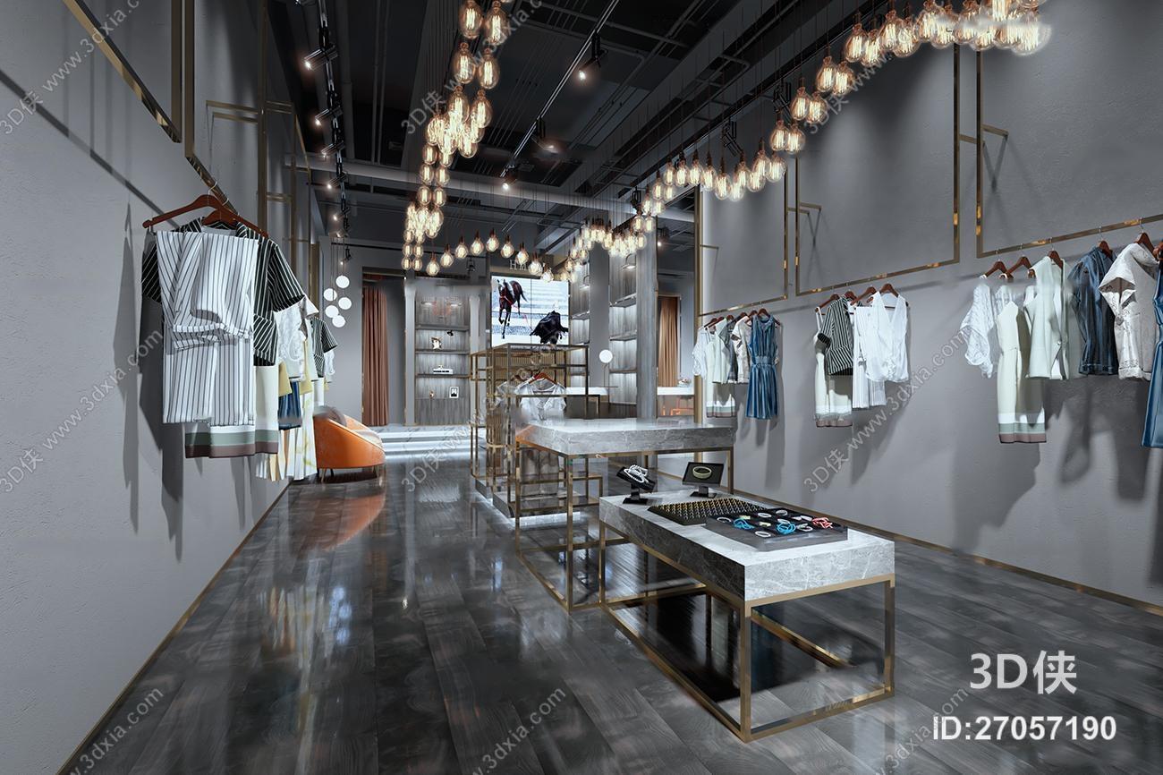 工业风服装店3d模型【id:27057190】