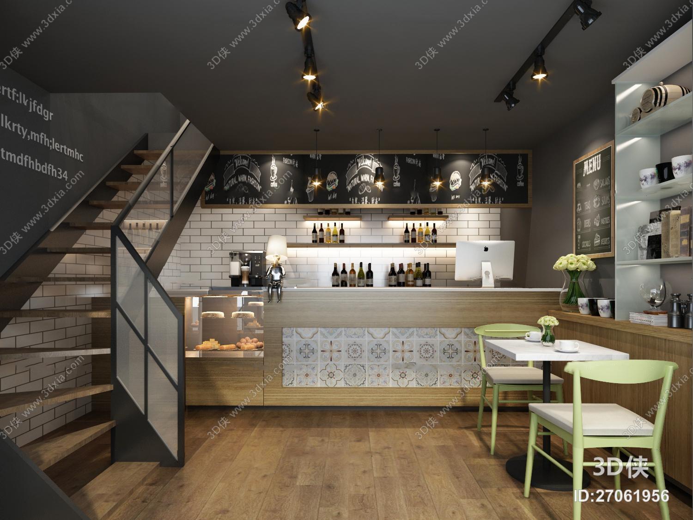 效果图素材免费下载,本作品主题是现代咖啡厅3d模型,编号是27061956