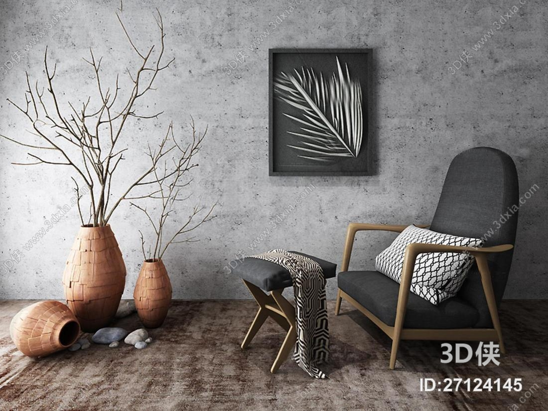 单椅效果图素材免费下载,本作品主题是中式东南亚休闲沙发挂画干枝