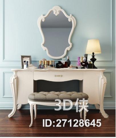欧式梳妆台化妆品组合3d模型【id:27128645】