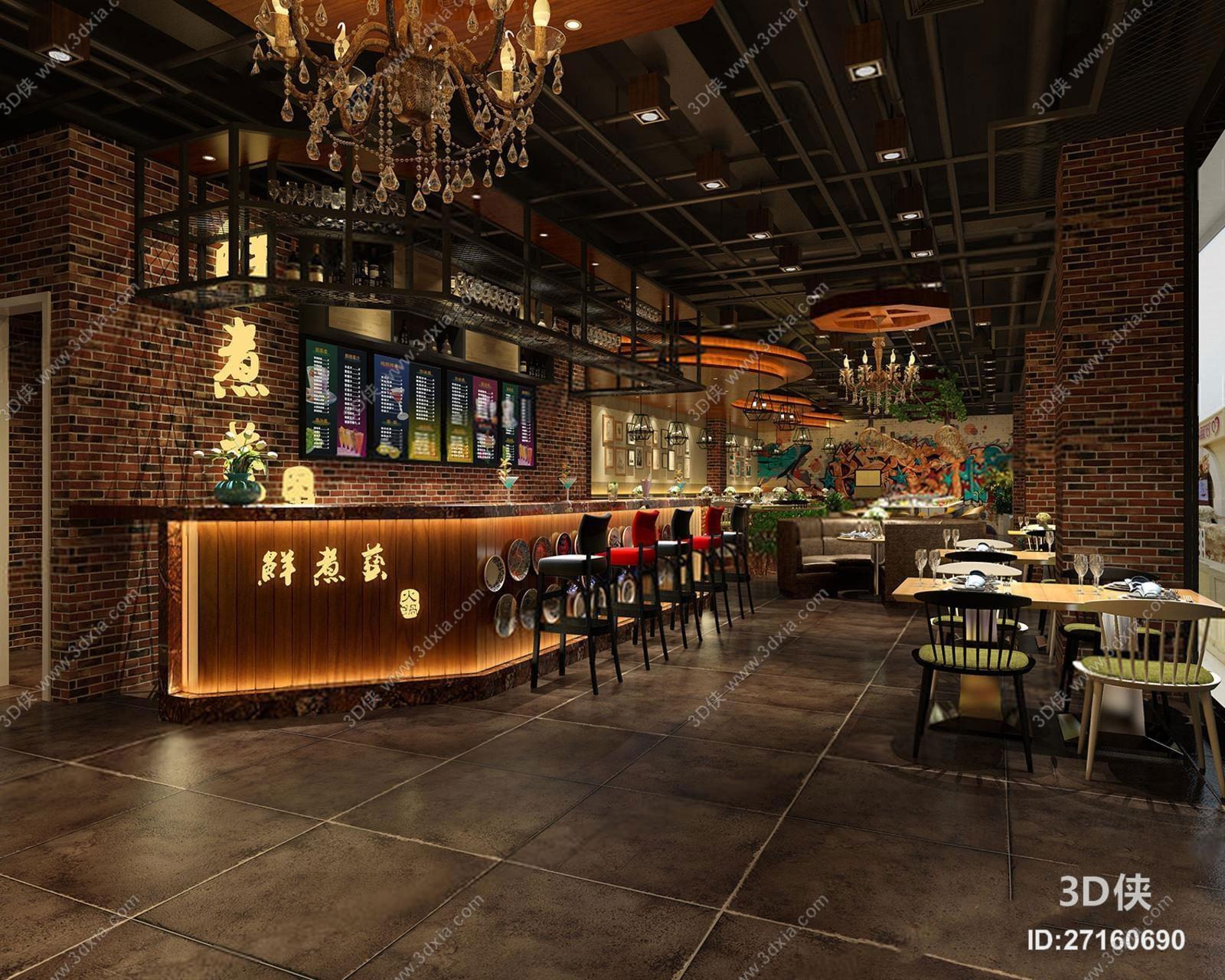 西餐厅效果图素材免费下载,本作品主题是工业风餐厅,编号是27160690
