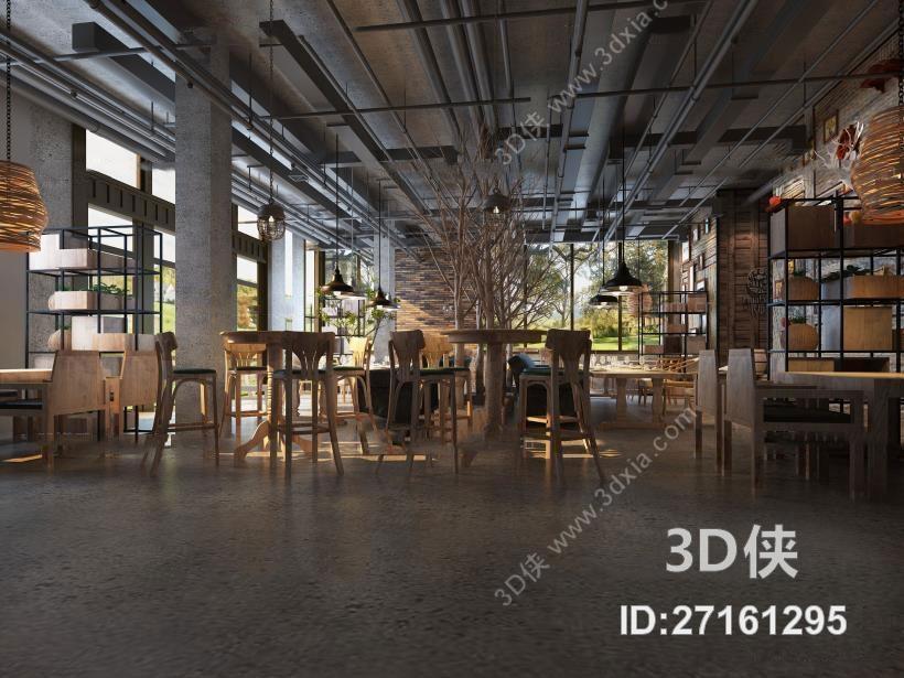 工业风餐饮空间3D模型