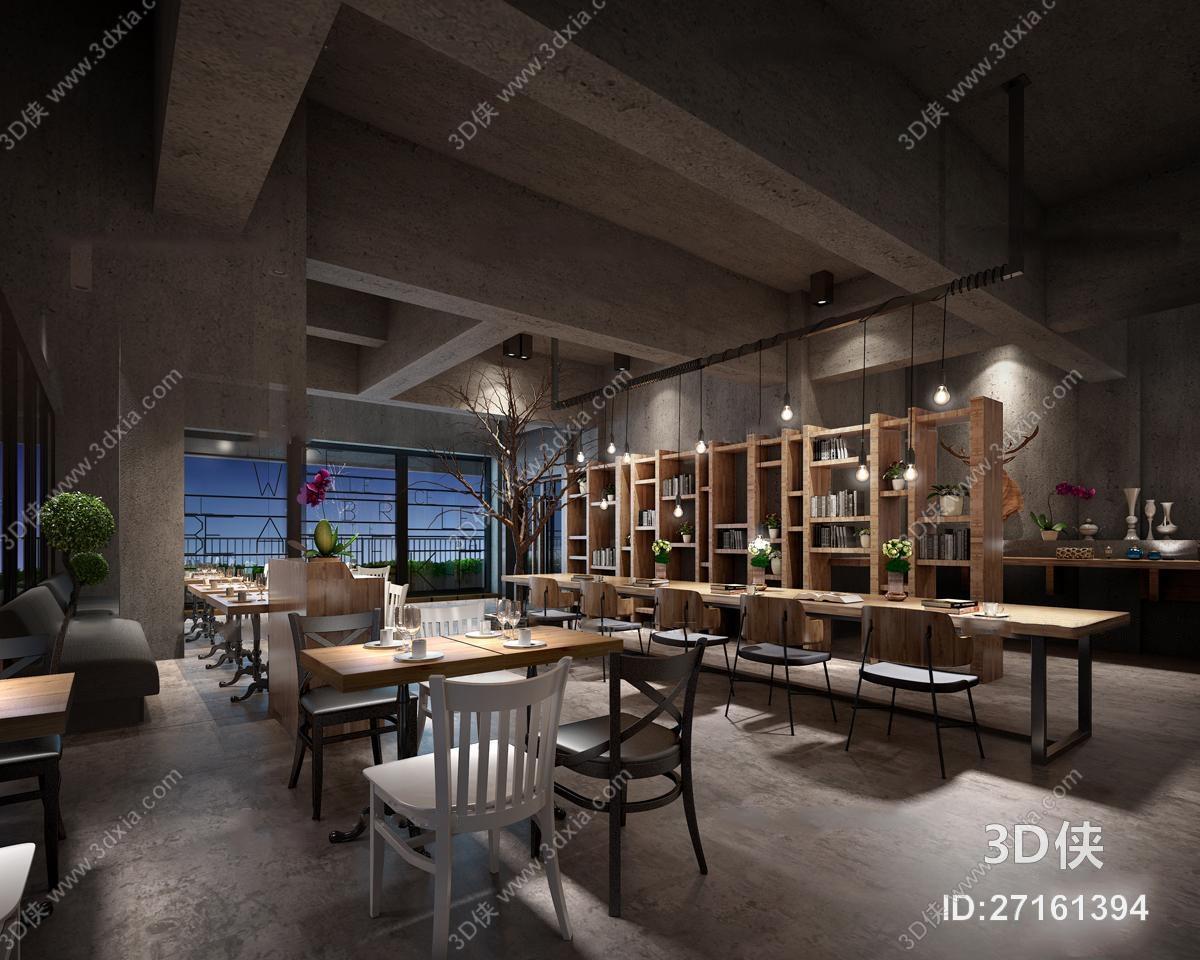 现代工业风餐饮空间3D模型