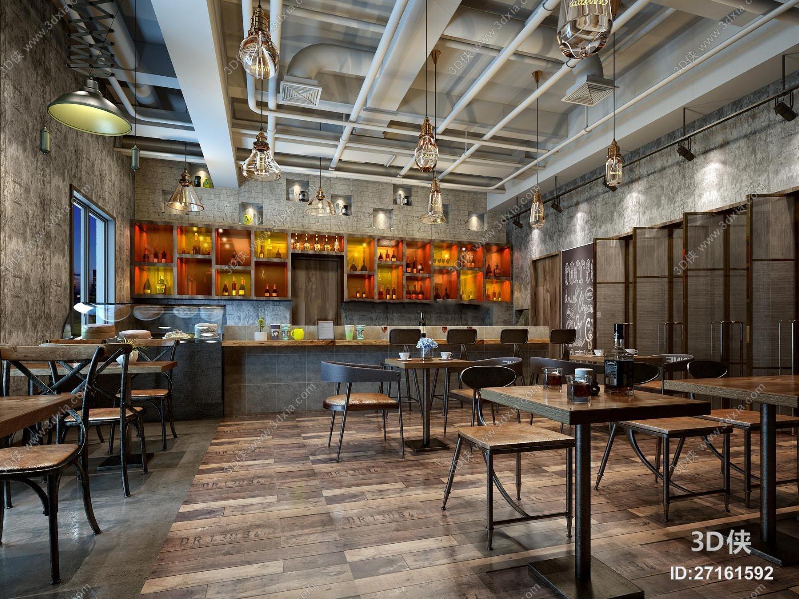 现代工业风咖啡厅3D模型