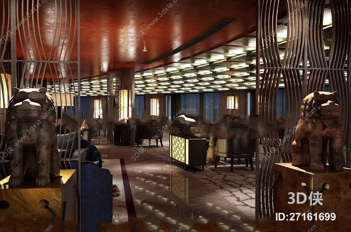 新中式酒店餐饮空间3D模型