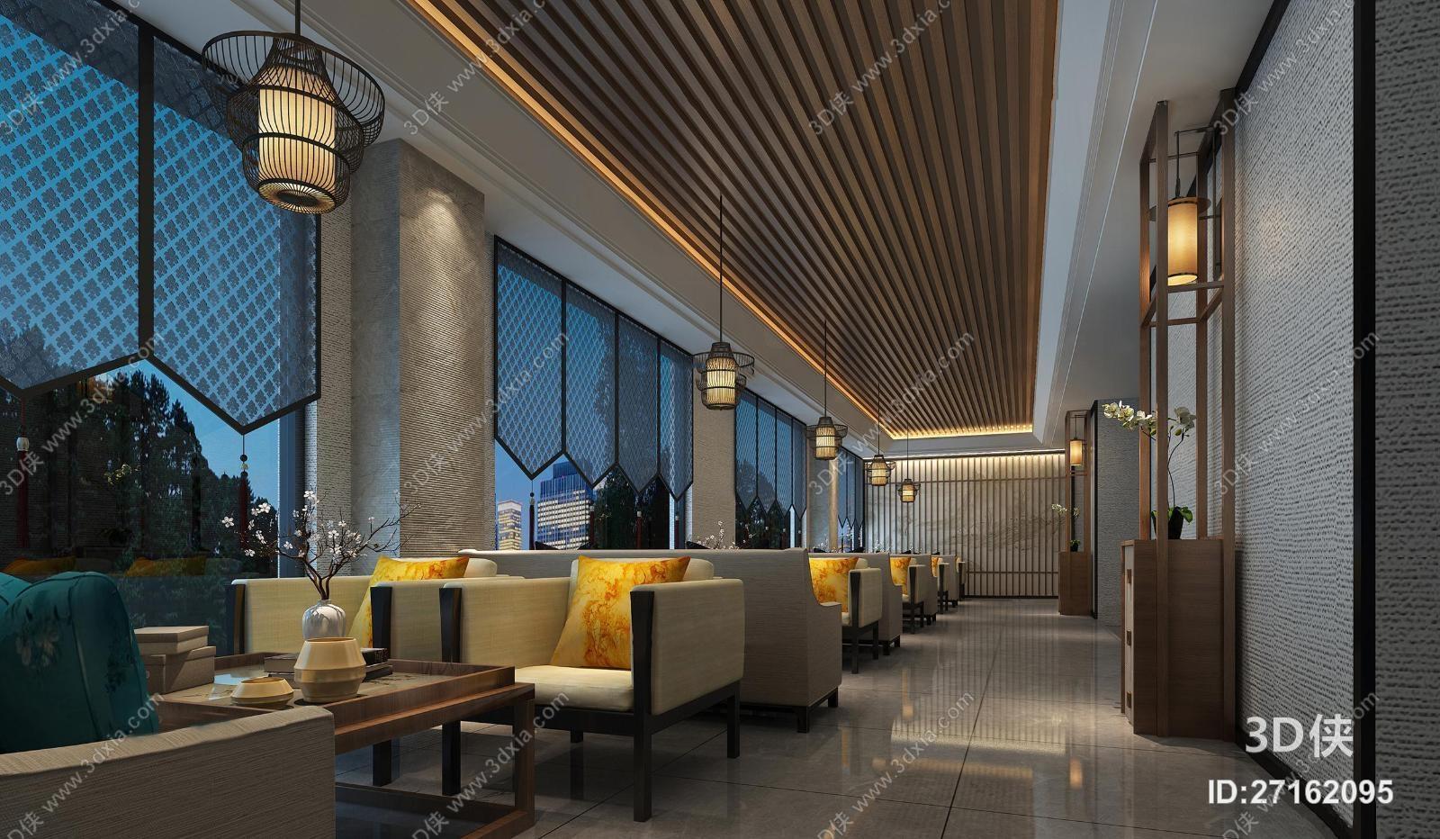 新中式餐饮空间3D模型下载