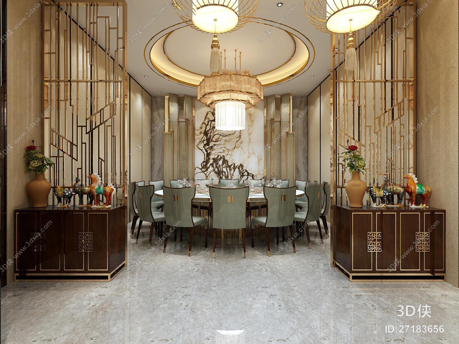 新中式酒店餐饮包间3d模型