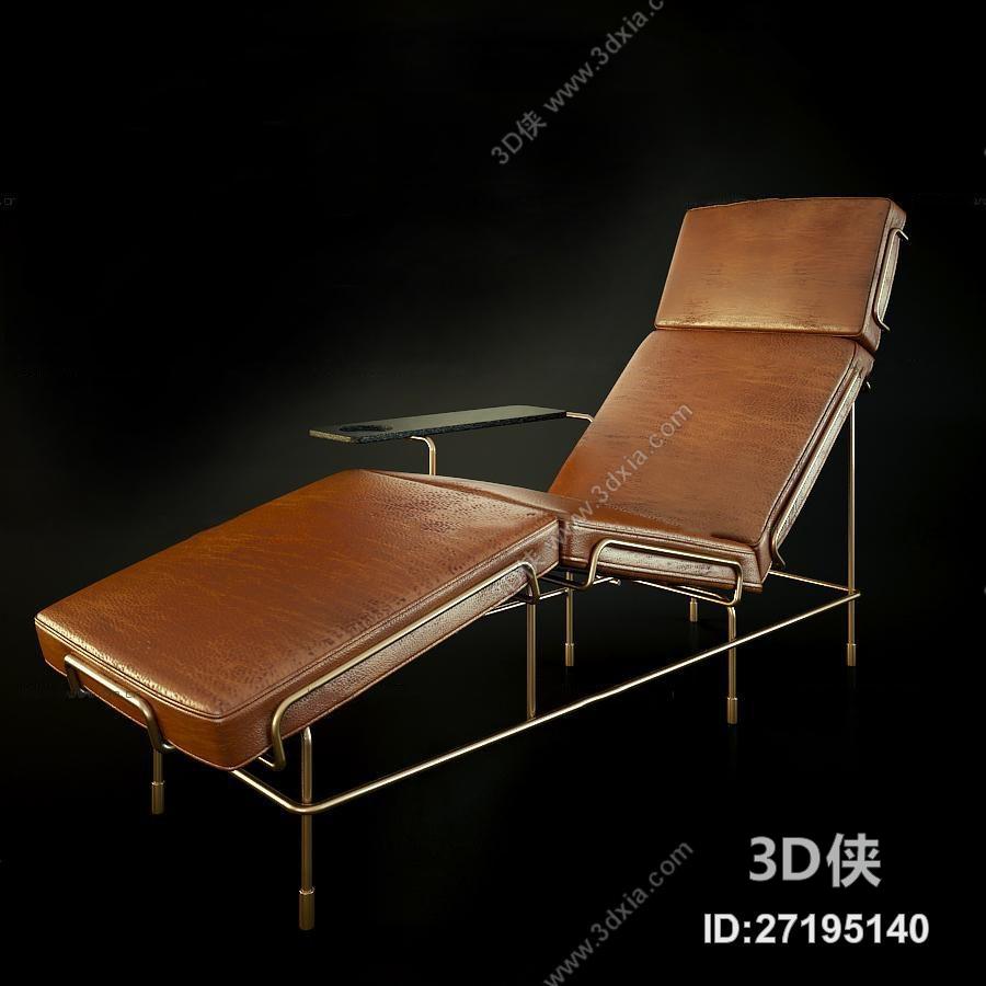 单椅效果图素材免费下载,本作品主题是现代皮革躺椅3d模型,编号是