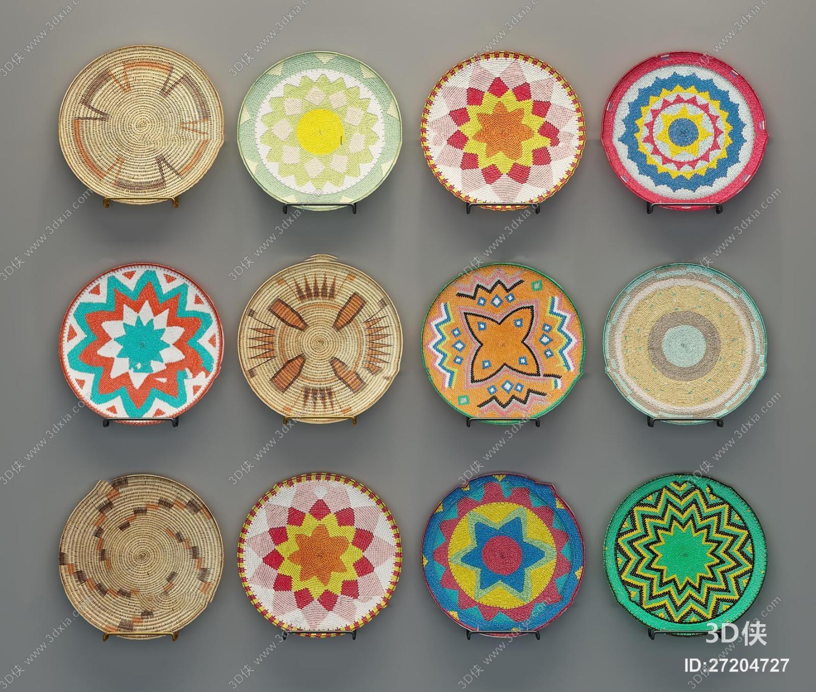 墙绘效果图素材免费下载,本作品主题是现代编织花纹圆盘挂件组合3d