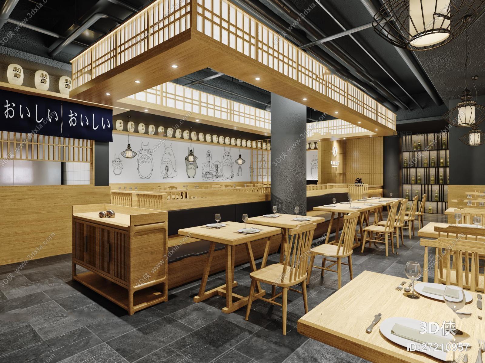 好看的日韩风格 效果图素材免费下载,本作品主题是日式料理店3d模型