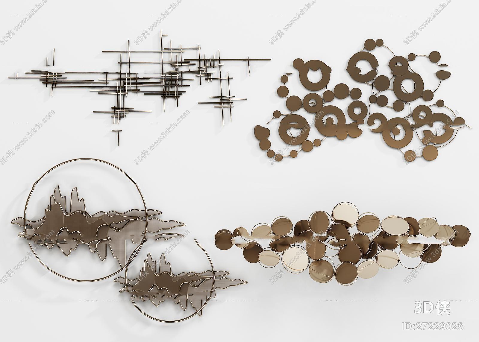 墙绘效果图素材免费下载,本作品主题是新中式金属墙饰挂件组合3d模型