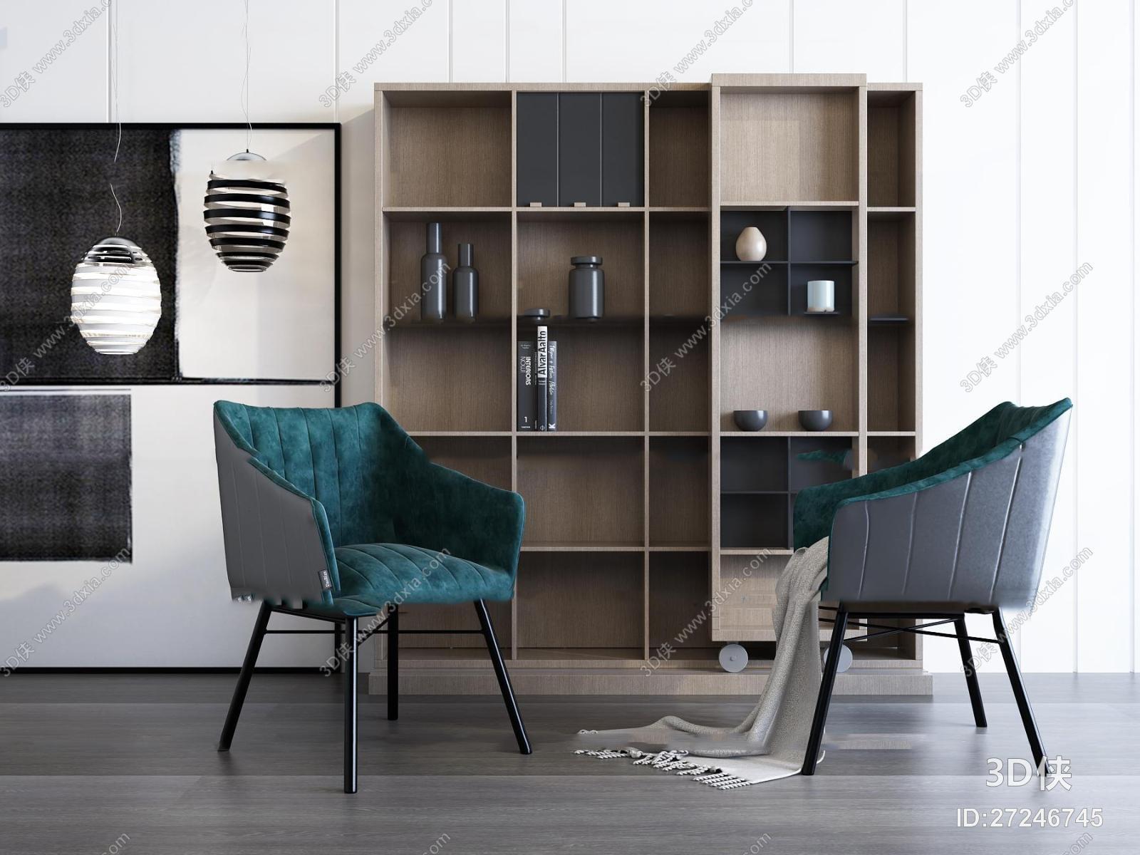 现代休闲椅装饰柜吊灯组合3D模型