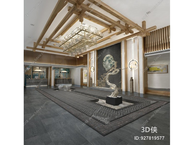 效果图素材免费下载,本作品主题是新中式民宿酒店前台大堂3d模型,编号