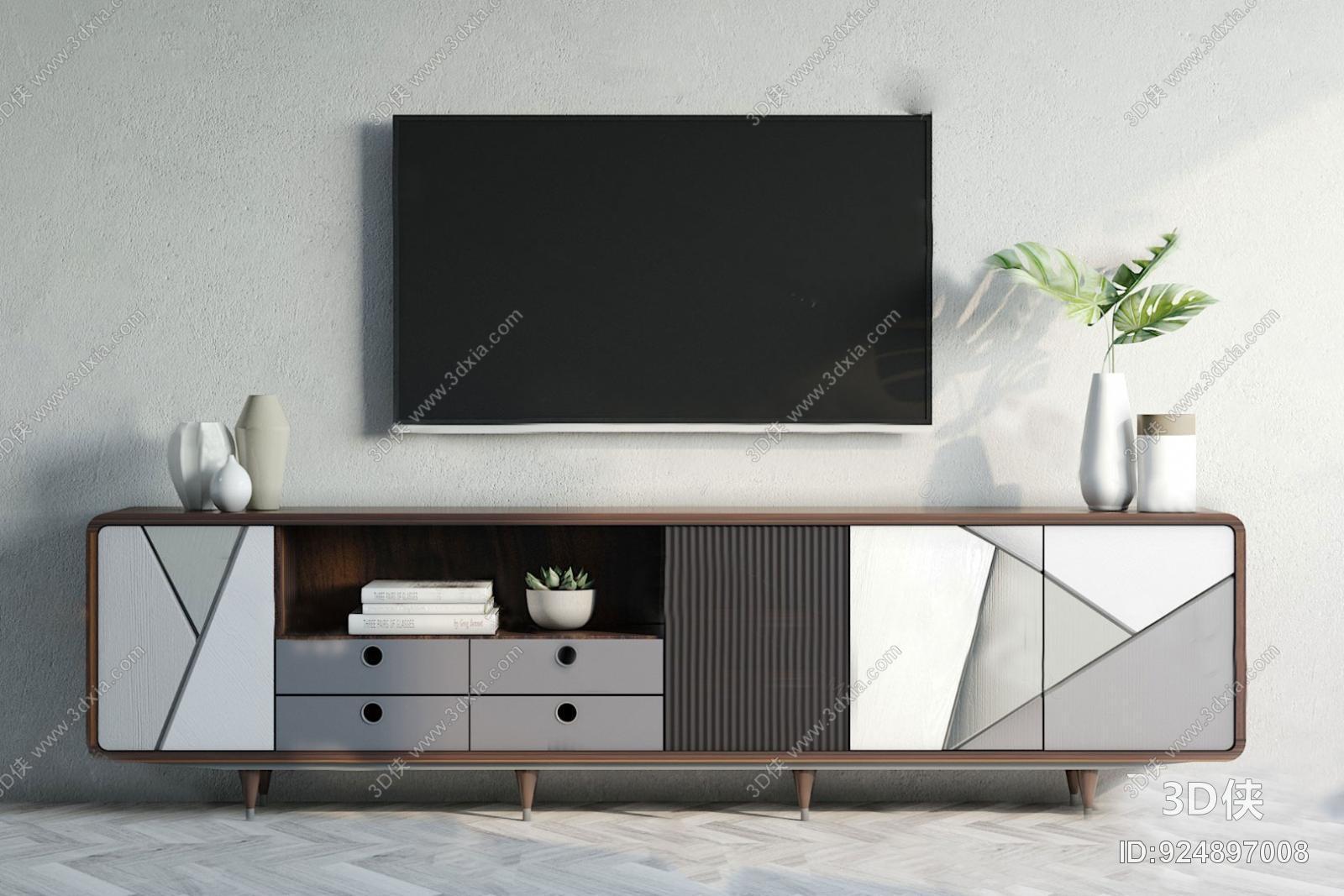 电视柜效果图素材免费下载,本作品主题是现代电视柜3d模型,编号是9248
